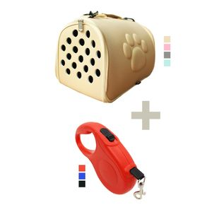 Transportadora Plegable + Correa Retráctil de 5 mts para Mascotas