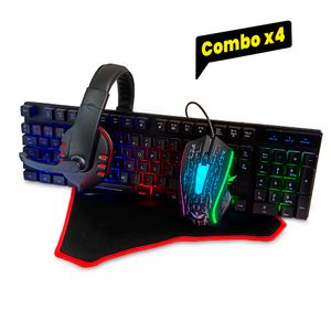 Kit Gamer 4 en 1: Teclado + Mouse + Audífonos + Pad