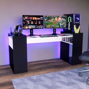 Escritorio Gamer NRO04 Movenda Muebles 180cm Negro con Blanco