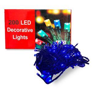 200 Luces LED para Decoración Navideña 5 Secuencias Color Azul