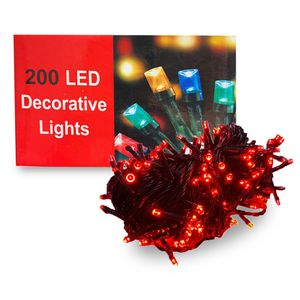 200 Luces LED para Decoración Navideña 5 Secuencias Color Rojo