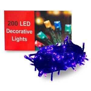 200 Luces LED para Decoración Navideña 5 Secuencias Color Morado
