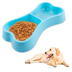 Plato Doble de Comida para Mascotas - Celeste