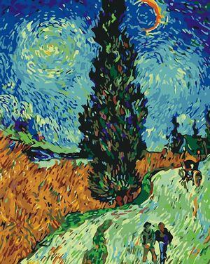 Cuadro Lienzo para Pintar por Número Paint by Number  Camino Cypress - Van Gogh
