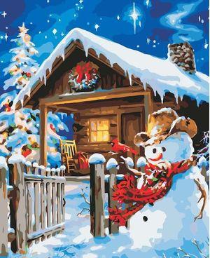 Cuadro Lienzo para Pintar por Número Paint by Number  Cabaña en Navidad