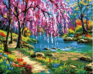 Cuadro Lienzo para Pintar por Número Paint by Number  Floreciendo en Primavera