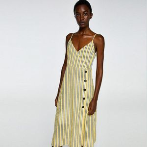 Vestido Tirantes Rayas Amarillo