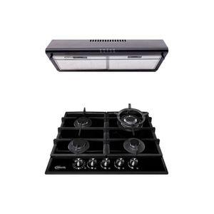Cocina Empotrable Aosta 60 Pro 4 hornillas Negro + Campana Lineal CK601NE/M Negra