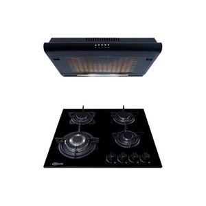 Cocina Empotrable Nina 60 Pro 4 hornillas Negro + Campana Lineal IWH101NE/M Plateado