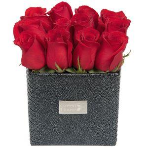 Arreglo Floral Glam Black  12 Rosas Rojas