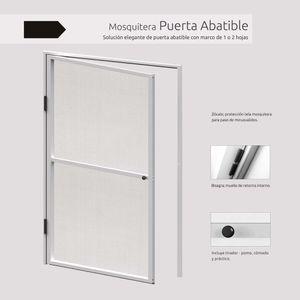 Kit Puerta Mosquitera batiente de aluminio blanco ajustable hasta 1m x 2.20m