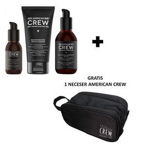 Pack de Afeitar Aceite + Crema + Bálsamo + Neceser American Crew Men