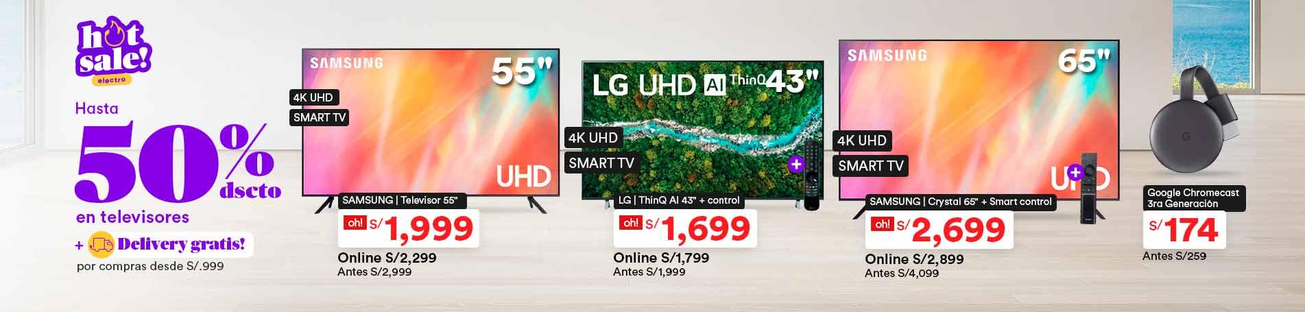 Hot Sale_P_2_Hasta 50% dsct. en TVs + Delivery gratis por compras desde S/.999