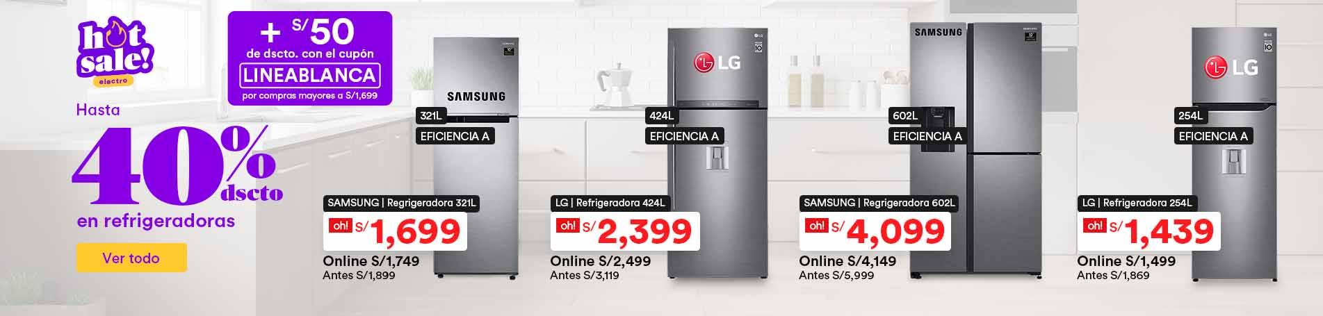 Hasta 40% dsct. en refrigeradoras