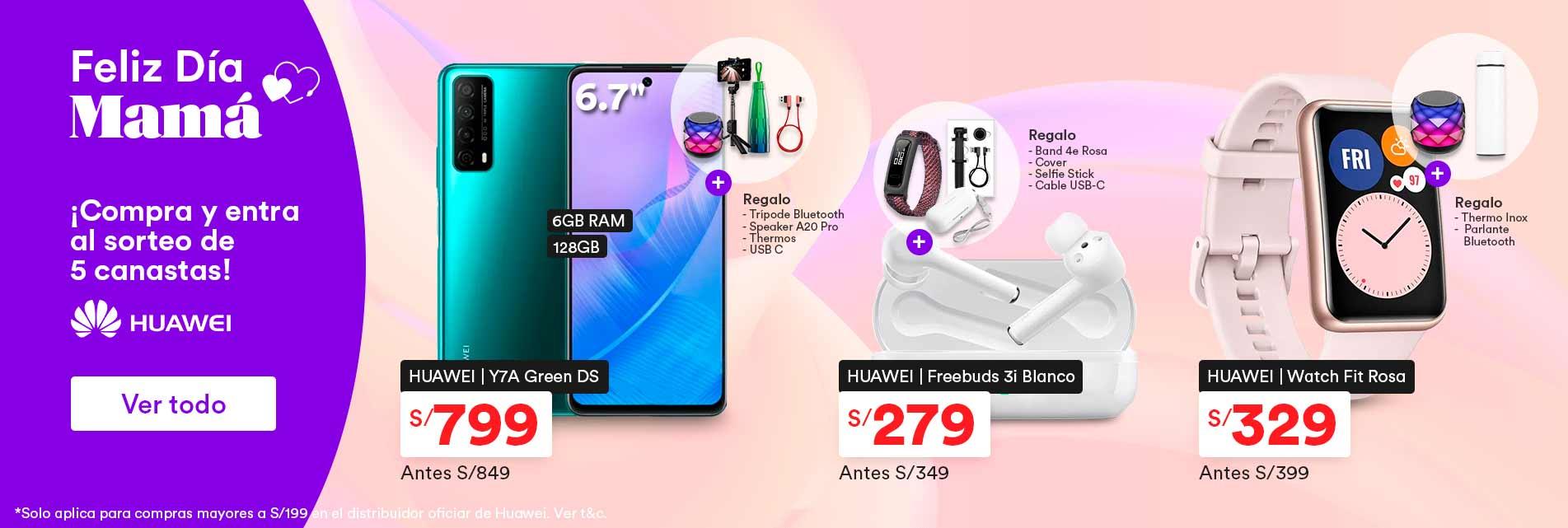 Sorteo de 5 canastas por la compra de S/.199 a más en productos Huawei