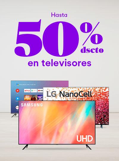 Hasta 50% dsct. en Televisores por Cyber Wow