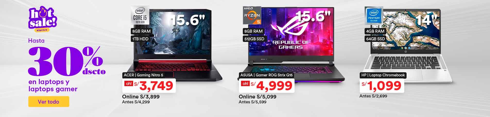 Hasta 30% de descuento en laptops y laptops gamer